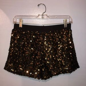 Authentic Icon black and gold sequin shorts S